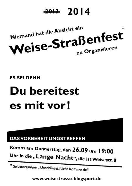 Vorbereitungstreff Weisestrassenfest 2014